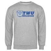 Grey Fleece Crew-TWU Bulldogs Stacked w/ Bulldog