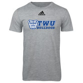 Adidas Sport Grey Logo T Shirt-TWU Bulldogs Stacked w/ Bulldog
