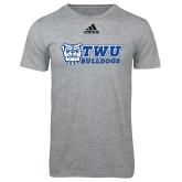 Adidas Sport Grey Logo T Shirt-TWU Bulldogs Stacked w/ Bulldog