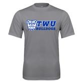 Performance Grey Concrete Tee-TWU Bulldogs Stacked w/ Bulldog