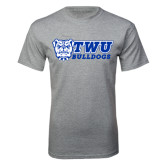 Sport Grey T Shirt-TWU Bulldogs Stacked w/ Bulldog