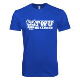 Next Level SoftStyle Royal T Shirt-TWU Bulldogs Stacked w/ Bulldog