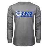 Grey Long Sleeve T Shirt-TWU Bulldogs Stacked w/ Bulldog