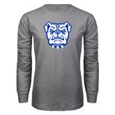 Grey Long Sleeve T Shirt-Bulldog Head
