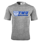 Performance Grey Heather Contender Tee-TWU Bulldogs Stacked w/ Bulldog