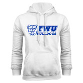 White Fleece Hoodie-TWU Bulldogs Stacked w/ Bulldog