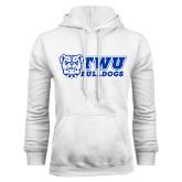 White Fleece Hoodie-TWU Bulldogs Stacked w/ Bulldog