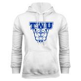White Fleece Hoodie-TWU w/ Bulldog Head
