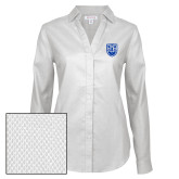 Ladies Red House Diamond Dobby White Long Sleeve Shirt-University Crest