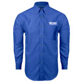 Mens Royal Oxford Long Sleeve Shirt-TWU Bulldogs Stacked w/ Bulldog