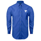 Mens Royal Oxford Long Sleeve Shirt-TWU w/ Bulldog Head