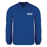 V Neck Royal Raglan Windshirt-TWU Bulldogs Stacked w/ Bulldog