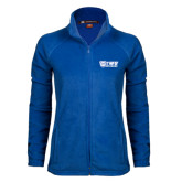 Ladies Fleece Full Zip Royal Jacket-TWU Bulldogs Stacked w/ Bulldog