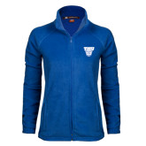 Ladies Fleece Full Zip Royal Jacket-TWU w/ Bulldog Head
