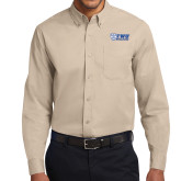 Khaki Twill Button Down Long Sleeve-TWU Bulldogs Stacked w/ Bulldog