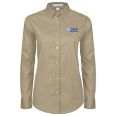 Ladies Khaki Twill Button Down Long Sleeve-TWU Bulldogs Stacked w/ Bulldog