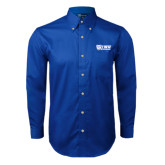 Royal Twill Button Down Long Sleeve-TWU Bulldogs Stacked w/ Bulldog