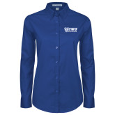 Ladies Royal Twill Button Down Long Sleeve-TWU Bulldogs Stacked w/ Bulldog