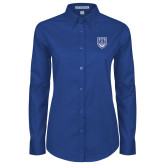 Ladies Royal Twill Button Down Long Sleeve-University Crest