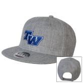 Heather Grey Wool Blend Flat Bill Snapback Hat-TW