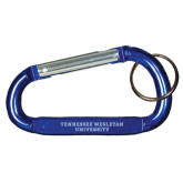 Blue Carabiner with Split Ring-Tennessee Wesleyan University Engraved
