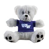 Plush Big Paw 8 1/2 inch White Bear w/Royal Shirt-Official Logo