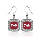 Crystal Studded Square Pendant Silver Dangle Earrings-TWU Typeface