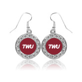 Crystal Studded Round Pendant Silver Dangle Earrings-TWU Typeface