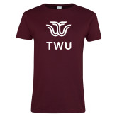 Ladies Maroon T Shirt-Institutional TWU
