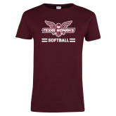 Ladies Maroon T Shirt-Softball Owl Graphic