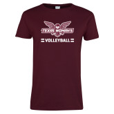Ladies Maroon T Shirt-Volleyball Owl Graphic