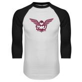 White/Black Raglan Baseball T Shirt-Owl TWU