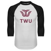 White/Black Raglan Baseball T Shirt-Institutional TWU