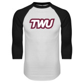 White/Black Raglan Baseball T Shirt-TWU Typeface