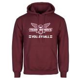 Maroon Fleece Hoodie-Volleyball Owl Graphic
