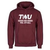 Maroon Fleece Hoodie-Volleyball TWU Typeface