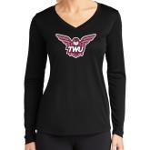 Ladies Syntrel Performance Black Longsleeve Shirt-Owl TWU
