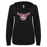 ENZA Ladies Black V Notch Raw Edge Fleece Hoodie-Owl TWU