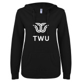 ENZA Ladies Black V Notch Raw Edge Fleece Hoodie-Institutional TWU