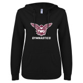 ENZA Ladies Black V Notch Raw Edge Fleece Hoodie-Gymnastics
