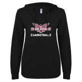 ENZA Ladies Black V Notch Raw Edge Fleece Hoodie-Basketball Owl Graphic