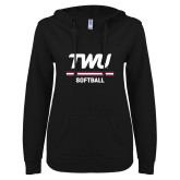ENZA Ladies Black V Notch Raw Edge Fleece Hoodie-Softball TWU Typeface