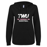 ENZA Ladies Black V Notch Raw Edge Fleece Hoodie-Basketball TWU Typeface