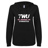 ENZA Ladies Black V Notch Raw Edge Fleece Hoodie-Gymnastics TWU Typeface
