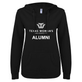 ENZA Ladies Black V Notch Raw Edge Fleece Hoodie-Alumni Institutional Logo