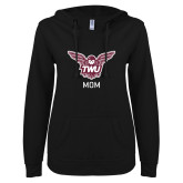 ENZA Ladies Black V Notch Raw Edge Fleece Hoodie-Mom Owl TWU