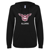ENZA Ladies Black V Notch Raw Edge Fleece Hoodie-Alumni Owl TWU