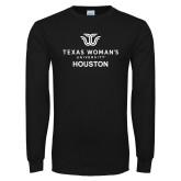 Black Long Sleeve T Shirt-Houston with Institutional Mark