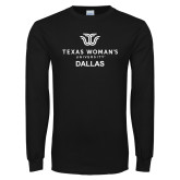 Black Long Sleeve T Shirt-Dallas with Institutional Mark