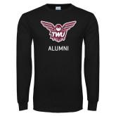 Black Long Sleeve T Shirt-Alumni Owl TWU